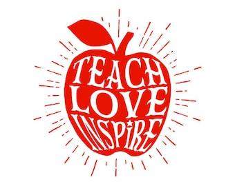 Teach Love Inspire Apple for Teacher Decal with Apple Burst