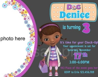 Doc McStuffins Invitation. Doc McStuffins Birthday Invitation. Doc McStuffins Party. Digital (you print)
