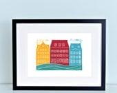Copenhangen Nyhavn Harbor Linocut Art Print 8x10
