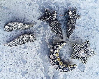 Stud earrings with crystals, pierced, stars ,angel wings, parrots,paradise birds ,shiny