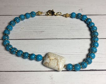 Blue Howlite and Gold Accent Bracelet