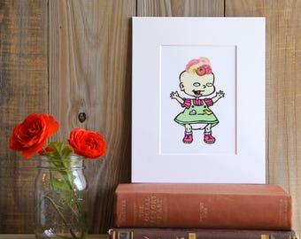 Lil DeVille Frida Print, Rugrats, Cartoon, Nickelodeon, Frida, Frida Kahlo, Art Print