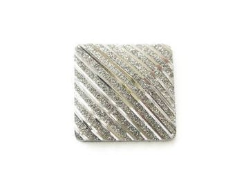 Flat square cabochon resin 20mm grey anthracite sequined iridescent