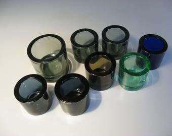 9 Iittala KIVI Blue, Appel Green , Pomeranian and Gray Glass Candle Holder HEIKKI ORVOLA Finnish Design Finland Marimekko