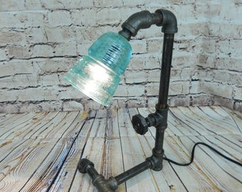 Pipe Lamp, Industrial lamp, Steampunk Lamp ,Vintage Insulator, Lamp, Glass Insulator Lamp, Black pipe,galvanized pipe,iron pipe