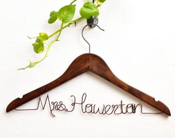Personalized Wedding dress hanger,Bride hanger, Bridal Shower Gift, Personalized Bride Hanger, Custom Wedding Hanger, Rustic Wedding