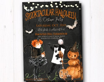Vintage Halloween Invite - Rustic Halloween Party Invitation - Trunk or Treat Flyer - Costume - Kids Trick or Treat - Haunted House