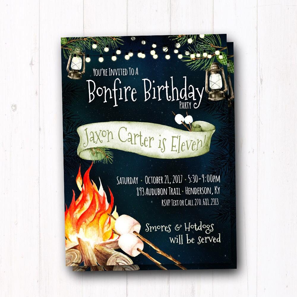 bonfire party invitation backyard campfire fall bonfire bbq
