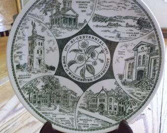 Vintage Kettlespring Kilns Town of Winchester Connecticut Bicentennial Commemorative Plate