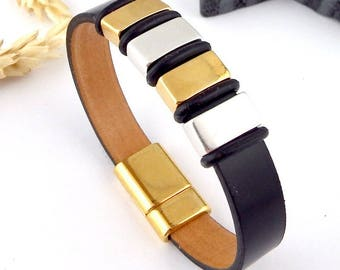 Kit tutorial leather bracelet black gold and silver