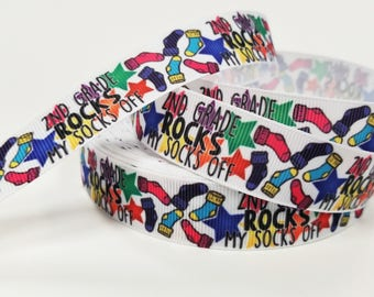 "7/8 "" inch 2nd Grade Rocks My SOCKS off - Printed Grosgrain Ribbon for 7/8 inch  Hair Bow"