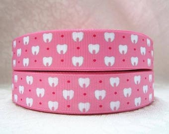 7/8 inch  Small Tooth on Pink tooth fairy -  Printed Grosgrain Ribbon for Hair Bow