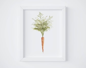 Carrot Print - carrot painting - vegetable painting - carrot watercolor - home decor painting - kitchen art - dining room art - food art