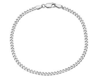 Men's/Ladies' 925 Sterling Silver Cuban Curb Link Chain Bracelet - 080 gauge 3 mm