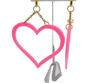 Pink Heart Statement Earrings