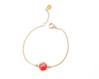 Gaia enamel poppy chain bracelet
