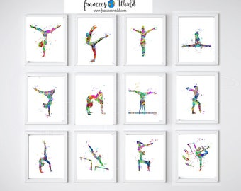 Gymnastics Gift,Gymnast Teen Gift 12 Prints Gymnastics Wall Art, Gymnastic  Printable, Gymnastics