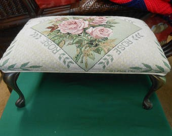 FOOT STOOL- Embroidered Screen ROSE design