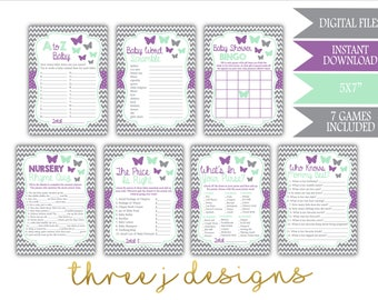 Butterfly Baby Shower Game Package - Bundle of 7 Games - INSTANT DOWNLOAD - Gray, Lavender and Mint - Digital Files - J005