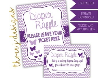 Butterfly Baby Shower Diaper Raffle Tickets and Sign - INSTANT DOWNLOAD - Plum and Lavender - Digital File - J004