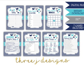 Butterfly Baby Shower Game Package - Bundle of 7 Games - INSTANT DOWNLOAD - Navy Blue, Teal and Gray - Digital Files - J007