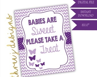 Butterfly Baby Shower Treat or Dessert Table Sign - INSTANT DOWNLOAD - Plum and Lavender - Digital File - J004