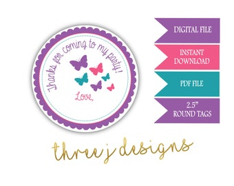 Butterfly Birthday Party Thank You Favor Tags - INSTANT DOWNLOAD - Purple, Pink and Teal - Digital File - J008