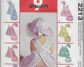 McCall's Pattern 2213 Infant's Dresses, Panties, And Hat (C) 1999 *