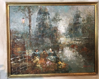 French oil painting on canvas, scene by the riverside.  Nice wide wood frame. Well in the 50s art style.