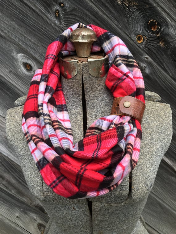 Red and White and yellow plaid flannel eternity scarf with a brown leather cuff - soft, trendy