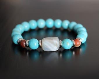 Turquoise colour fossil stone bracelet