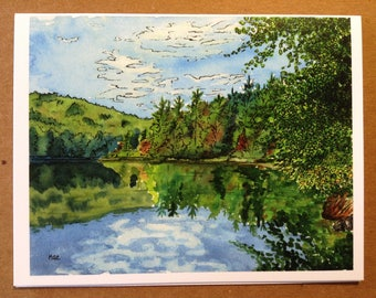 Appalachian Trail Greeting Card - Upper Goose Pond, Massachusetts - Blank Fine Art Note Card