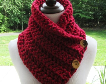 Chunky Red Cowl, Boston Harbor Scarf, Crochet Red Scarf, Red Button Cowl, Handmade, Winter Accessory, Women's Gift, Wool Blend, Neck Warmer