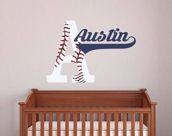 Bon Personalized Name Baseball Wall Decal   Custom Name Baseball Wall Sticker    Vinyl Decal Monogram Girls