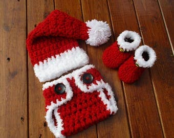 Christmas Baby Outfit Crochet Baby Outfit First Christmas Newborn Santa Outfit Photo Prop Baby Santa Newborn Santa Hat Diaper Cover