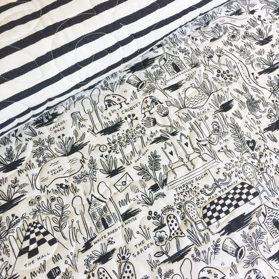 Wholecloth Baby Quilt - 'Rifle Paper Co.' Wonderland in Black - MADE-to-ORDER