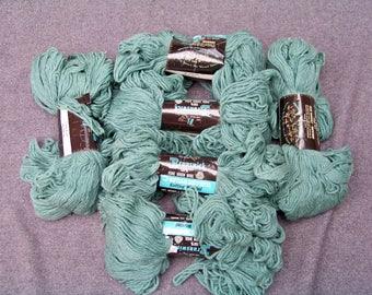 1970s 6 Skeins Jade Heather Brunswick 100% Virgin Wool Knitting Yarn Sweater