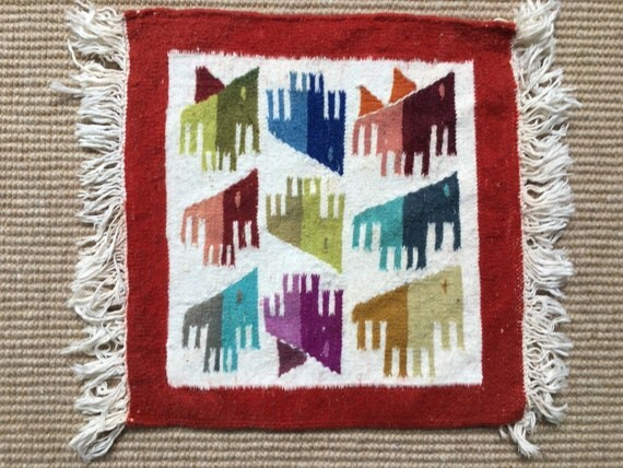 Vintage Swedish vavnad handmade wallhanging in wool circa 1980's