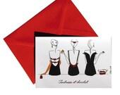 Carte pliée Tendresse et chocolat, enveloppe rouge.