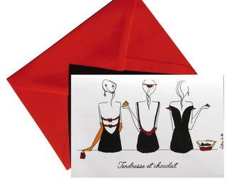 Folded card tenderness and chocolate, red envelope.