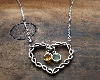 Family Birthstone Necklace, Birthstone Pendant, Heart Pendant with Birthstones, Gift for Mom, Mother Necklace, Gift for Her, Heart Necklace