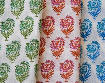Beautiful Hand Printed Voile cotton Fabric, Block Printed Fabric, Indian Fabric By the Yard, Small Motifs on White- Green-Pink-Blue, Fabric