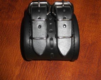 Leather bracelet- men. Leather-3mm-3,3mm.Black.Handmade.