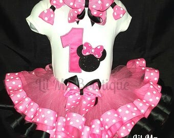 Minnie mouse ribbon trim tutu outfit, minnie mouse tutu, minnie mouse tutu set, minnie mouse birthday outfit, minnie mouse tutu dress,