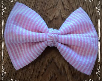 Pink and White Stripe Seersucker Fabric Hair Bow