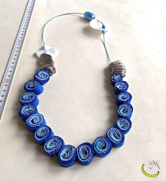 Preferenza Collana di stoffa con perline linguette di lattine e fili di TT64