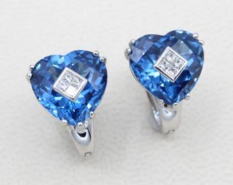 Diamond Blue Topaz 11.40ct  Heart Earrings 18k White Gold Precious Birth Stone December princess diamond