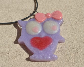 Purple Pastel Owl Necklace, Resin Jewelry, Statement Piece