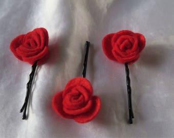 3 Rose Hairpins
