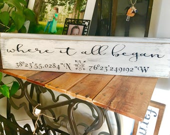 Where it all began sign, Coordinates Sign, Shiplap Sign, GPS Coordinates Sign, Five Year Anniversary Gift, Housewarming Gift